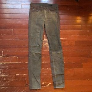 Rag and Bone size 24 skinny jeans with suede